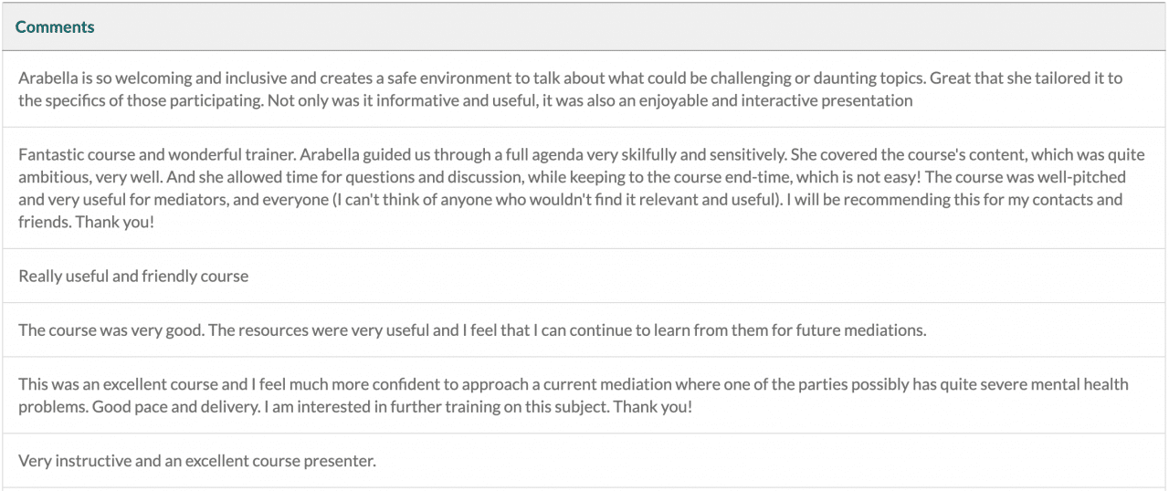 Feedback from mediators on our Mental Health Aware CPD course in July 2021